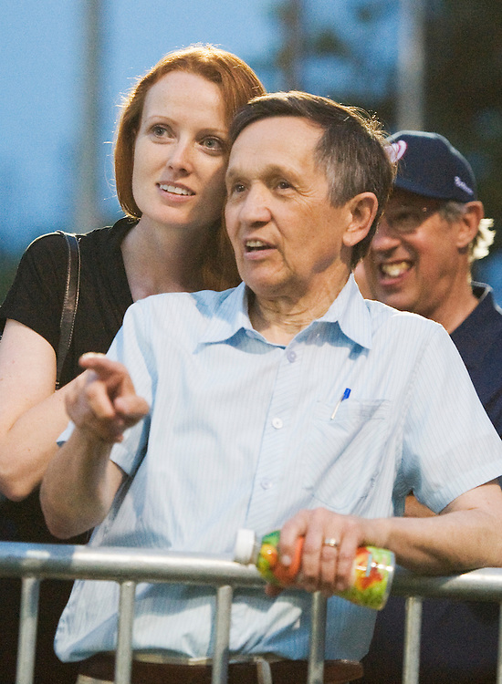 UNITED STATES - JUNE 23:  Rep. Dennis Kucinich, D-Ohio, and his wife Elizabeth take in the third annual Congressional Women's Softball game held at Watkins Recreation Center on Capitol Hill.  The charity match, which pits female members of Congress against female D.C. journalists, was won by the members 5-4.  Proceeds from the event help fund the Young Survival Coalition, a breast cancer support organization. (Photo By Tom Williams/Roll Call)