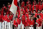 July 3, 2016, Tokyo, Japan - Japan's flag bearer Keisuke Ushiro (C) holds a large national flag and leaves a send-off ceremony for Japanese Olympic delegation to Rio de Janeiro in Tokyo on Sunday, July 3, 2016. Some 300 athletes attended the ceremony.  (Photo by Yoshio Tsunoda/AFLO) LWX -ytd-