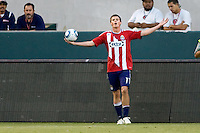 Chivas USA forward Justin 'Braun-Zilla' Braun looks for a call from the ref. The Kansas City Wizards defeated CD Chivas USA 2-0 at Home Depot Center stadium in Carson, California on Sunday September 19, 2010.