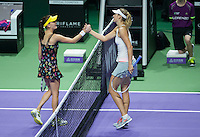 MARIA SHARAPOVA (RUS), AGNIESZKA RADWANSKA (POL)<br /> <br /> The BNP Paribas WTA Finals 2014 - The Sports Hub - Singapore - WTA  2014  <br /> <br /> 24 October 2014<br /> <br /> &copy; AMN IMAGES