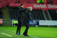 Lee Bowyer Manager of Charlton Athletic shouts instructions to his team from the dug-out during the Sky Bet Championship match between Swansea City and Charlton Athletic at the Liberty Stadium in Swansea, Wales, UK.  Thursday 02 January 2020