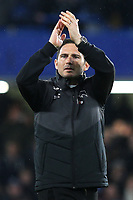 Derby County Manager, Frank Lampard, applauds both sets of fans at the final whistle during Chelsea vs Derby County, Caraboa Cup Football at Stamford Bridge on 31st October 2018