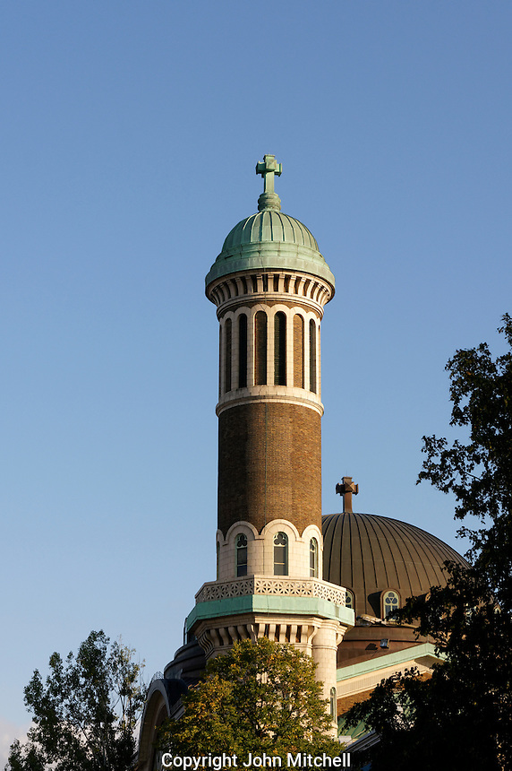 Minaret style tower of Church of St. Michael and St. Anthony in Mile End, Montreal, Quebec, Canada