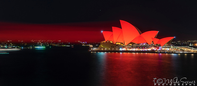 Sydney Opera House bathed in red for the 2017 Chinese New Year Celebrations - Year of the Rooster in Sydney, NSW, Australia