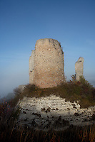 LES ANDELEYS, FRANCE - OCTOBER 10: View of the remains of the advanced fortification of the Chateau Gaillard, on October 10, 2008 in Les Andelys, Normandy, France. The chateau was built by Richard the Lionheart in 1196, came under French control in 1204 following a siege in 1203. It was later destroyed by Henry IV in 1603 and classified as Monuments Historiques in 1852.  (Photo by Manuel Cohen)