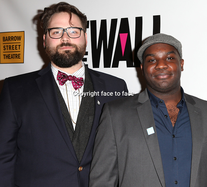 """Eric Hoff & Ike Holter attending the New York Premiere of the Opening Night Performance of """"Hit The Wall"""" at the Barrow Street Theatre in New York City on 3/10/2013...Credit: McBride/face to face"""