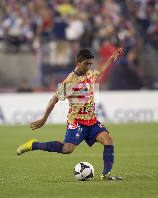 Monarcas Morelia forward Elias Hernandez (77) passes the ball. Monarcas Morelia defeated the New England Revolution, 2-1, in the SuperLiga 2010 Final at Gillette Stadium on September 1, 2010.