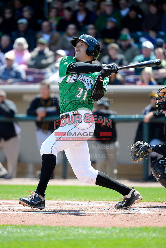 Dayton Dragons third baseman Seth Mejias-Brean #21 during a game against the Bowling Green Hot Rods on April 21, 2013 at Fifth Third Field in Dayton, Ohio.  Bowling Green defeated Dayton 7-5.  (Mike Janes/Four Seam Images)
