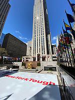 New York, New York City, in the time of Coronavirus. New York Tough sign at Rockefeller Center.