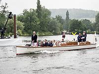 Henley Royal Regatta, Henley on Thames, Oxfordshire, 28 June - 2 July 2017.  Wednesday  09:21:24   28/06/2017  [Mandatory Credit/Intersport Images]<br /> <br /> Rowing, Henley Reach, Henley Royal Regatta.<br /> <br /> Sir Matthew Pinsent, CBE, Umpire on launch AMARYLLIS