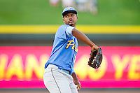 Myrtle Beach Pelicans starting pitcher Victor Payano (27) in action against the Winston-Salem Dash at BB&T Ballpark on May 15, 2013 in Winston-Salem, North Carolina.  The Pelicans defeated the Dash 9-2.  (Brian Westerholt/Four Seam Images)
