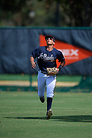 Atlanta Braves right fielder Jose Bermudez (15) gets under a fly ball during an Instructional League game against the Detroit Tigers on October 10, 2017 at the ESPN Wide World of Sports Complex in Orlando, Florida.  (Mike Janes/Four Seam Images)
