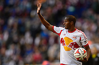 Roy Miller (7) of the New York Red Bulls readies a throw in. The New York Red Bulls and the Colorado Rapids played to a 1-1 tie during a Major League Soccer (MLS) match at Red Bull Arena in Harrison, NJ, on March 15, 2014.