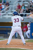 Hengelbert Rojas (33) of the Kingsport Mets at bat against the Elizabethton Twins at Hunter Wright Stadium on July 9, 2015 in Kingsport, Tennessee.  The Twins defeated the Mets 9-7 in 11 innings. (Brian Westerholt/Four Seam Images)