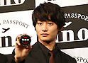 """March 9, 2016, Tokyo, Japan - Japanese actor Shuhei Nomura displays men's hair styling wax """"Uno"""" in Tokyo on Wednesday, March 9, 2016. Japanese cosmetics giant Shiseido unveiled the new series of men's hair styling products.  (Photo by Yoshio Tsunoda/AFLO)"""