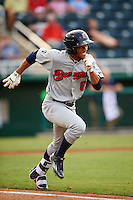 Brevard County Manatees center fielder Johnny Davis (8) runs to first during a game against the Fort Myers Miracle on April 13, 2016 at Hammond Stadium in Fort Myers, Florida.  Fort Myers defeated Brevard County 3-0.  (Mike Janes/Four Seam Images)