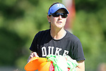 23 October 2011: Duke assistant coach Carla Overbeck. The Duke University Blue Devils defeated the University of Maryland Terrapins 3-1 at Koskinen Stadium in Durham, North Carolina in an NCAA Division I Women's Soccer game.