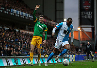 Blackburn Rovers' Ryan Nyambe gets away from Preston North End's Paul Gallagher<br /> <br /> Photographer Alex Dodd/CameraSport<br /> <br /> The EFL Sky Bet Championship - Blackburn Rovers v Preston North End - Saturday 11th January 2020 - Ewood Park - Blackburn<br /> <br /> World Copyright © 2020 CameraSport. All rights reserved. 43 Linden Ave. Countesthorpe. Leicester. England. LE8 5PG - Tel: +44 (0) 116 277 4147 - admin@camerasport.com - www.camerasport.com