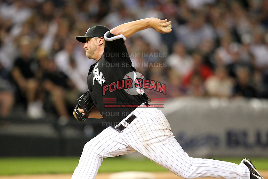 Chicago White Sox starting pitcher Mark Buehrle (56) during a game vs. the Detroit Tigers at U.S. Cellular Field in Chicago, Illinois August 13, 2010.   Chicago defeated Detroit 8-4.  Photo By Mike Janes/Four Seam Images