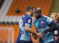 Adebayo Akinfenwa replaces Paul Hayes of Wycombe Wanderers during the The Checkatrade Trophy match between Blackpool and Wycombe Wanderers at Bloomfield Road, Blackpool, England on 10 January 2017. Photo by Andy Rowland / PRiME Media Images.