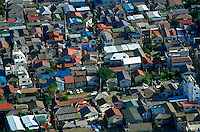 Aerial view of houses in a residential Tokyo neighborhood. Tokyo, Japan.
