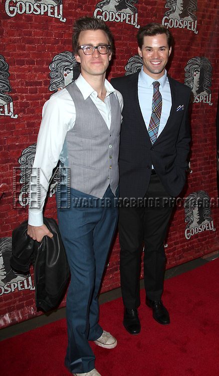 Gavin Creel and Andrew Rannells.arriving for the Opening Night Performance of the Broadway Revival of 'Godspell' at Circle in the Square Theatre in New York City.