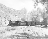 3/4 fireman's-side view of D&amp;RGW #361 with Rocky Mountain Railroad Club excursion train on the Cimarron wye.<br /> D&amp;RGW  Cimarron, CO  5/30/1949