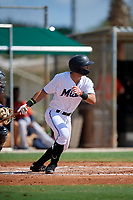 GCL Marlins Zachary Owings (20) bats during a Gulf Coast League game against the GCL Astros on August 8, 2019 at the Roger Dean Chevrolet Stadium Complex in Jupiter, Florida.  GCL Astros defeated GCL Marlins 4-2.  (Mike Janes/Four Seam Images)