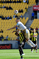 Wellington Phoenix' Roy Krishna and Newcastle Jets' Nigel Boogaard in action during the A League - Wellington Phoenix v Newcastle Jets at Westpac Stadium, Wellington, New Zealand on Sunday 21 October  2018. <br /> Photo by Masanori Udagawa. <br /> www.photowellington.photoshelter.com