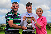 Sam Murphy (Portumna) winner of the Connacht U16 Boys Open 2018 with his Dad Brian and mother Lyndsay at the Gort Golf Club, Gort, Galway, Ireland on Wednesday 8th August 2018.<br /> Picture: Thos Caffrey / Golffile<br /> <br /> All photo usage must carry mandatory copyright credit (&copy; Golffile | Thos Caffrey)