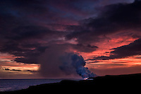 Explosions and steam clouds where lava fromthe Big Island's Kilauea volcanoreaches the Pacific Ocean.
