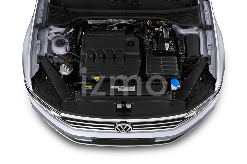 Car stock 2020 Volkswagen Passat Style Business 4 Door Sedan engine high angle detail view