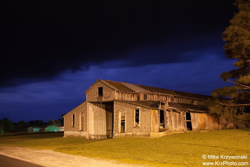 Abandoned barn at night in Purdin, MO
