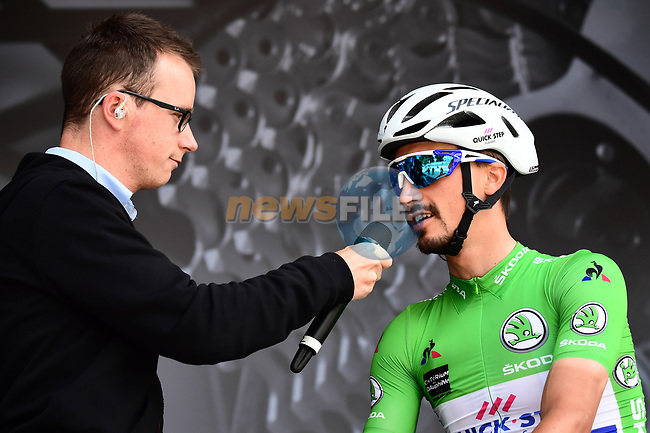 Julian Alaphilippe (FRA) Quick-Step Floors wearing the Maillot Vert at sign on before the start of Stage 2 of the 2018 Criterium du Dauphine 2018 running 181km from Montbrison to Belleville, France. 5th June 2018.<br /> Picture: ASO/Alex Broadway | Cyclefile<br /> <br /> <br /> All photos usage must carry mandatory copyright credit (© Cyclefile | ASO/Alex Broadway)