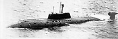 "United States Department of Defense released its 1985 assessment of Soviet Military Power at the Pentagon in Washington, DC on April 2, 1985.  The release stated ""the new SIERRA-Class nuclear-powered attack submarine, with a stern-mounted sonar pod, became operational in 1984.""<br /> Credit: Department of Defense via CNP"