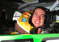 Apr 26, 2008; Talladega, AL, USA; NASCAR Sprint Cup Series driver Kyle Busch during qualifying for the Aarons 499 at Talladega Superspeedway. Mandatory Credit: Mark J. Rebilas-