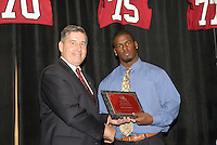 14 January 2007: Bob Bowlsby presents an award to Anthony Kimble at the annual football banquet at McCaw Hall in Stanford, CA.