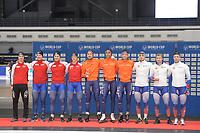 SPEEDSKATING: 09-12-2018, Tomaszów Mazowiecki (POL), ISU World Cup Arena Lodowa, Podium Team Sprint Men, Norway, Netherlands, Russia, ©photo Martin de Jong