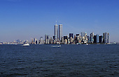 New York, USA. Skyline of downtown Manhattan with new and old office buildings including World Trade Centre.