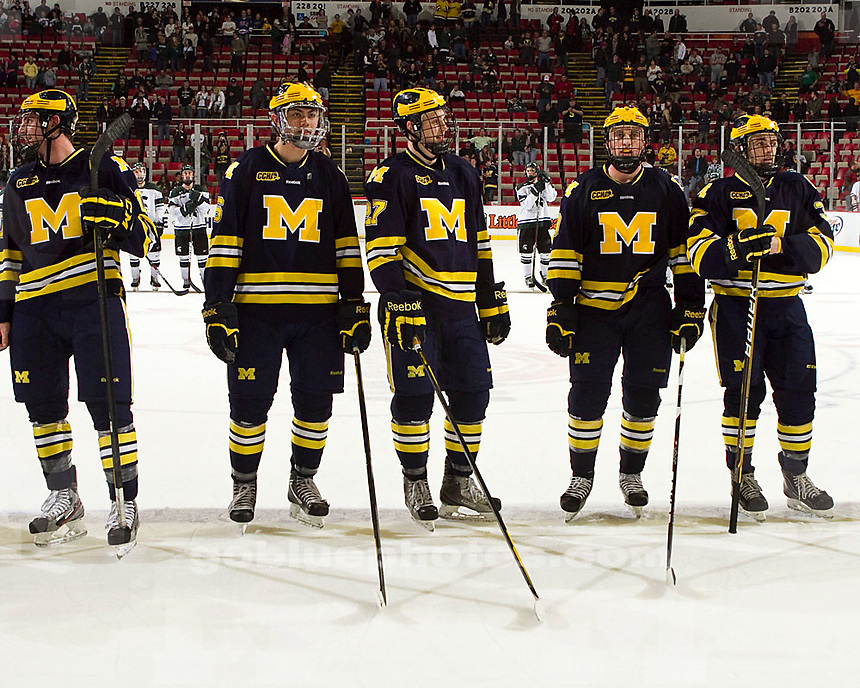 The University of Michigan men's hockey team beat Michigan State 3-2 in overtime to win the Great Lakes Invitational championship at Joe Louis Arena in Detroit, Mich., on Dec. 30, 2011.