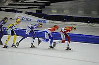 SCHAATSEN: HEERENVEEN: 25-10-2014, IJsstadion Thialf, Marathonschaatsen, KPN Marathon Cup 2, Carien Kleibeuker (#26), Rixt Meijer (#97), Foske Tamar van der Wal (#90), Iris van der Stelt (#54), ©foto Martin de Jong