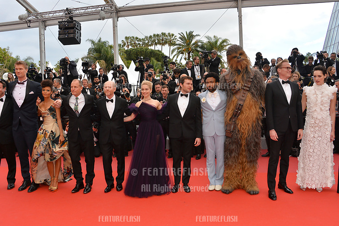 Director Ron Howard &amp; cast at the gala screening for &quot;Solo: A Star Wars Story&quot; at the 71st Festival de Cannes, Cannes, France 15 May 2018<br /> Picture: Paul Smith/Featureflash/SilverHub 0208 004 5359 sales@silverhubmedia.com