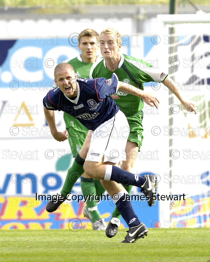 15/09/2007       Copyright Pic: James Stewart.File Name : sct_jspa23_falkirk_v_hibernian.GRAHAM BARRETT IS CAUGHT LATE BY CHRIS HOGG.James Stewart Photo Agency 19 Carronlea Drive, Falkirk. FK2 8DN      Vat Reg No. 607 6932 25.Office     : +44 (0)1324 570906     .Mobile   : +44 (0)7721 416997.Fax         : +44 (0)1324 570906.E-mail  :  jim@jspa.co.uk.If you require further information then contact Jim Stewart on any of the numbers above........