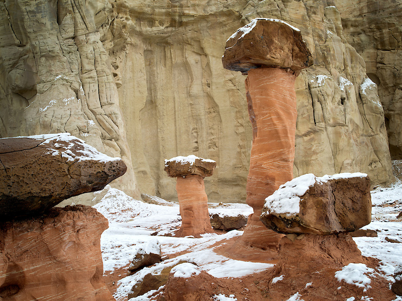 Hodoos with snow at Toadstool formation in Escalante Staircase National Monument, Utah