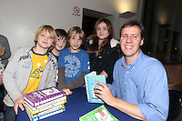 NO FEE PICTURES.29/11/11 Jeff Kinney, author of Wimpy Kids books, with fans Cal McWilliams, Finlay Bingham, Josh Filgas and Lucy McWilliams, in Dublin to celebrate the launch of Diary of a Wimpy Kid: Cabin Fever at a one off event held at Liberty Hall Theatre in association with Eason. Pictures:Arthur Carron/Collins