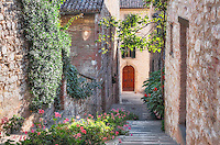 Via Alessandrini is a very attractive stepped alley, lined with flowers, in the ancient and historical town of Gubbio; it leads very steeply up the hill from the Via 20 Settembre, a short distance past the Palazzo dei Consoli. Just about every tourist who walked past it stopped to take a picture looking up it, but I wanted a shot looking down. This took some considerable time as I got into a staring match with several people, desperate to get their shot, whilst I sat resolutely with my tripod, equally desperate to get mine.
