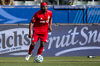 CARSON, CA - FEBRUARY 15: Ifunanyachi Achara #35 of Toronto FC moves with the ball during a game between Toronto FC and Los Angeles Galaxy at Dignity Health Sports Park on February 15, 2020 in Carson, California.