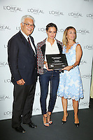 From left, Paolo Baratta, Valeria Bilello and Stefania Fabiano attend a photocall for 'L'Oreal Award' during the 72nd Venice Film Festival at the Palazzo Del Cinema in Venice, Italy, September 10, 2015.<br /> UPDATE IMAGES PRESS/Stephen Richie