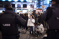 Aldara, a student from Colmenarejo, a village in Madrid province, joined the marches of dignity and came walking to Sol square in the capital, to protest against the cuts in education implemented by the government of Mariano Rajoy. Protesters travelled on foot from all corners of Spain as a symbol of their indignation. Madrid, Spain.