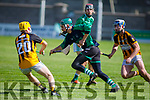 Ballyduff keeper Darragh Quinlan clears his lines despite the attention from Calum O'Sullivan and Jack Sheehan of Abbeydorney in the Minor Hurling Championship semi final.